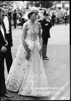 """June 29 1987 Charles & Diana attended the premiere of the film """"The Living Daylights"""" at the Odeon Theatre, Leicester Square, London, in aid of The Prince's Trust"""