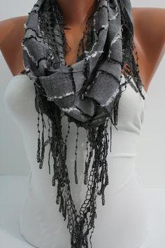 Dark Gray Shawl/ Scarf  Headband  Cowl with Trim Edge by DIDUCI, $14.50