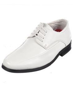 "Goodfellas Boys ""Smoothed Over"" Dress Shoes - white, 4 youth. Genuine Leather Lining, Faux Leather Upper. Made in China."