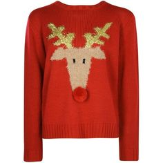 Evie Pom Pom Rudolph Christmas Jumper (€1,12) ❤ liked on Polyvore featuring tops, sweaters, xmas, pom pom sweaters, red top, xmas sweaters, pom pom christmas sweater and pom pom tops