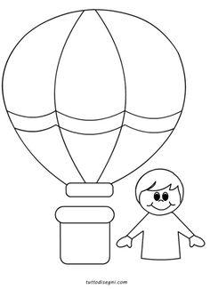 disegni da colorare per bambini mongolfiera con bambini