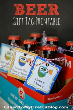 free beer gift tags. cut owls with beer sayings printable. Too Cute. Fathers Day printable. http://www.gluedtomycraftsblog.com/ http://www.gluedtomycraftsblog.com/2014/06/free-beer-gift-tag-printable-father-day.html#more