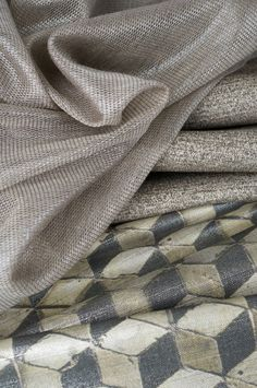 S. Harris fabrics featured: Liner - Taupe, Monarchy - Fieldstone and Element - Concrete.