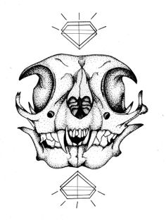"""One piece in a series of animal skulls, experimenting with the contrast of organic lines in nature with straightforward geometric shapes.  Black and White 8""""x10"""" Printed on 80# White Card. All prints are individually signed by artist."""