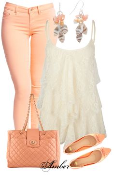 """Pastel Peach"" by stay-at-home-mom on Polyvore... Definitely love the pants not so much the rest of the outfit"