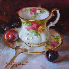 "Daily Paintworks - ""Country Rose Teacup"" - Original Fine Art for Sale - © Elena Katsyura"