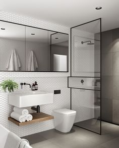 Clean lines & simple uncluttered design - love recessed mirror, shelf, black and white design, simple white hexagonal tile