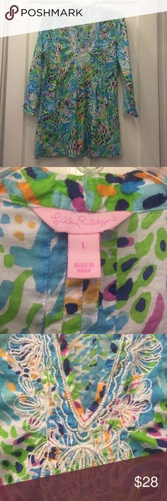 Beautiful Lilly Pulitzer item Beautiful print with blue, green & white colors. This item will look great with leggings, a skirt or pants! Simple and beautiful! Lilly Pulitzer Tops Tunics