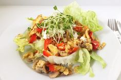 I Love Health   Healthy scrambled egg with veggies and sprouts   http://www.ilovehealth.nl