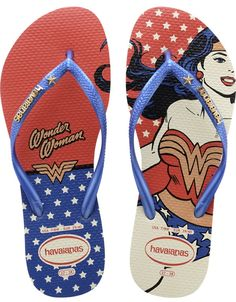 Your favorite flip flops and sandals! Over 300 styles of sandals, flip flops, & footwear for the whole family. Shop at Havaianas, the flip flops brand. Tong Havaianas, Havaianas Slim, Wonder Woman Birthday, Wonder Woman Party, Super Heroine, Marine Blue, Womens Flip Flops, Ciabatta, Women's Accessories