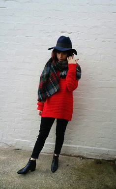 Plaid scarf, red jumper, black Levis Jeans, Navy fedora and black chelsea boots