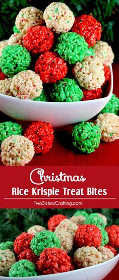Christmas Rice Krispie Treat Bites -  Yummy, bite-sized balls of crunchy, marshmallow-y delight.  This is a Christmas Dessert that is easy to make and even better to eat.  These colorful and festive Christmas Treats will definitely stand out on a Christmas Dessert Table. They would be great as a Holiday Party dessert or a snack for a school Christmas Party.  Follow us for more fun Christmas Food Ideas…