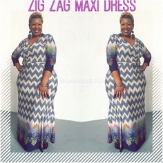 Gorgeous Plus Size Zig Zag Maxi Dress Beautiful NWT wrap front, belted maxi dress. Navy Blue Zig Zag print. Size 1X Dresses Maxi