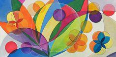 Arte moderna brasileira. Pintura com cores tropicais e alegres, flores coloridas…