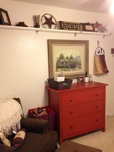 Vintage Western Nursery- art print/red chest