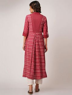 Red Handloom Cotton Ikat Kurta by Jaypore