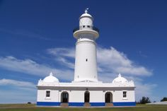 Macquarie Lighthouse, Vaucluse, Sydney - replica designed by James Barnet and built to replace original 1818 lighthouse designed by Francis Greenway; height 26 m.