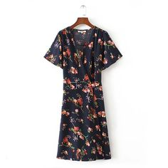 1c7287ed5c5c 2017 summer new printing V neck wrapped around the belt short sleeved  fashion dress female-in Dresses from Women s Clothing   Accessories on  Aliexpress.com ...
