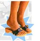 """Dr. Scholls - """"exercise your legs as you walk"""" mom wore these in the 70s hers were navy  blue. I had a little girl pair too!"""