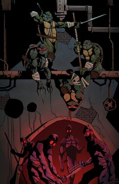 I love how Mikey is upside-down :D Teenage Mutant Ninja Turtles colours by Ninja Turtles Art, Teenage Mutant Ninja Turtles, Tmnt, Comic Books Art, Comic Art, Comic Pics, Book Art, Samurai, Cultura Pop