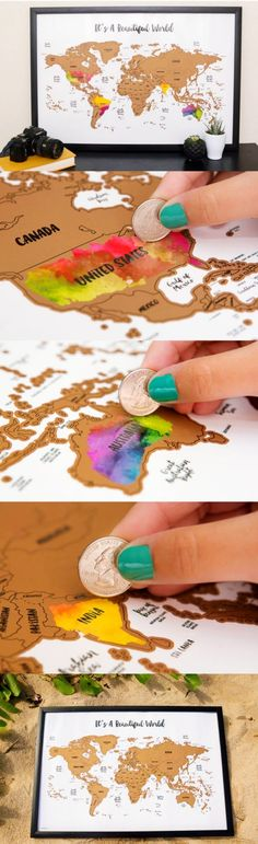 Scratch your travels with this gorgeous original watercolor world map. Bright, bold & interactive wall art that will fit any size frame. Use a coin to scratch off the foil to reveal the bright c (Diy Art Map) Interactive Walls, Water Color World Map, Kunst Poster, Ideias Diy, Travel Maps, Travel Europe, Travel Packing, Adventure Is Out There, Beautiful World