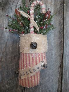 Primitive Christmas Mitten With Candy Cane by annattic1 on Etsy                                                                                                                                                                                 More