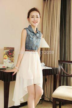 115e0374b4 vintage sleeveless 2014 women s spring denim patchwork chiffon one-piece  dress middle-long elegant
