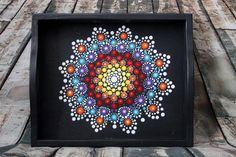 Cosmos Jewel Drop Mandala Tray Medium by PaintedPenguinDesign Mandala Canvas, Mandala Dots, Dot Art Painting, Stone Painting, Wooden Box Crafts, Painted Rocks, Hand Painted, Madhubani Painting, Rock Art