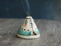 Incense Burner TeePee that smokes Ceramic Teal Black Design