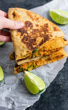 Ultimate meatless vegan quesadillas recipe. A meat free, no cheese quesadilla recipe full of protein and flavor. A mexican favorite gone vegan! Made with healthy ingredients like cashews, nutritional yeast, whole wheat tortillas, and fresh vegetables.