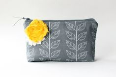 Clutch Purse Zipper Pouch Gray and Yellow by allisajacobs on Etsy, $35.00