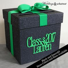 Black and Emerald Graduation Card Box Choose Your Colors and