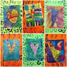 Kindergarten Jim Dine Heart Batik for Valentines Day Exploring Art: Elementary Art