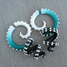 Fake Gauges, Octopus Tentacle Earrings, Fake Plugs or Faux Gauges, Tentacle Plugs