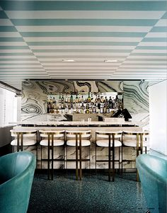 Bar at the Avalon Hotel via Kelly Wearstler… striped ceiling… Kelly Wearstler, Small Restaurant Design, Commercial Design, Commercial Interiors, Design Café, House Design, Chair Design, Design Ideas, Design Projects
