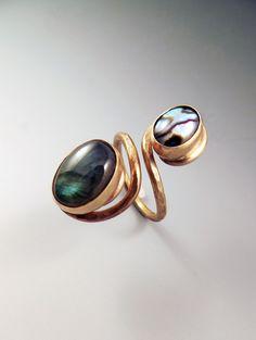 Abalone and Labradorite Golden ring. $109.00, via Etsy.