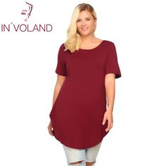 051c23b64c2 IN VOLAND Casual T-Shirt Women Plus Size Summer Autumn Short Sleeve Solid  Loose Pullovers Long Curved Hem Tshirt Tops Big Sized