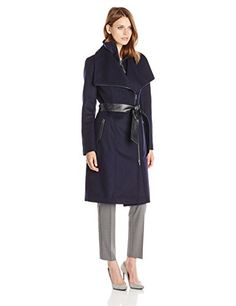 Mackage Women's Nori Belted Wool Coat with Leather Trim, Navy - http://www.womansindex.com/mackage-womens-nori-belted-wool-coat-with-leather-trim-navy/