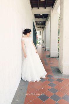 Vintage A-line Off-the-shoulder Floor Length Fall Lace Wedding Dress Lace Wedding Dresses Uk, Wedding Dress Sleeves, Cheap Wedding Dress, Bridal Gowns, One Shoulder Wedding Dress, Dresses With Sleeves, Spring Wedding, Beautiful Dresses, Floor