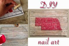 Easy nail string art! Barnwood, nails, and string is about all you need!