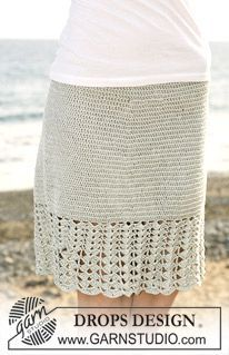 "Crochet DROPS skirt with wide fan patterned border in ""Cotton Viscose"". Size S – XXXL ~ DROPS Design"