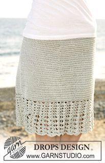 "Crochet DROPS skirt with wide fan patterned border in ""Cotton Viscose"". Size S – XXXL ~ DROPS Design"
