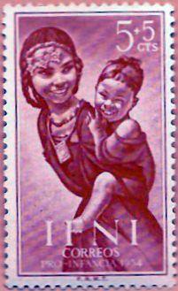 Sello Ifni de 5+5  céntimos, Pro Infancia, 1954 - Portal Fuenterrebollo