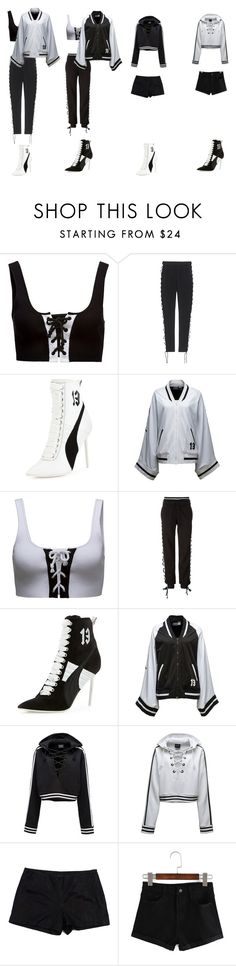 """""""( From left to right )#Mckenzie #Eleanor #Danielle #Melissa #Performingoutfits #FentyxPuma"""" by wallflowerofdesires14 ❤ liked on Polyvore featuring Puma, Theory and WithChic"""
