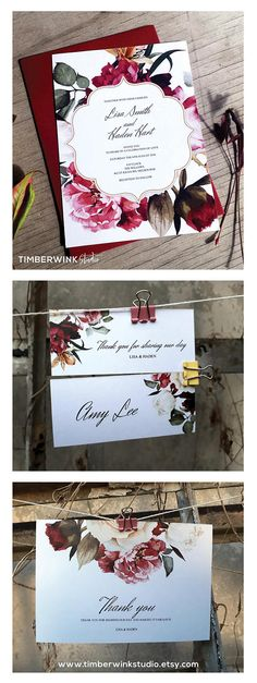 This burgundy red floral wedding invitation set is a complete printable wedding kit which includes editable templates from Save the Dates to Menus to Thank You cards. For more of our BEAUTIFUL collection, visit www.timberwinkstudio.etsy.com