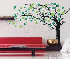 Flying Leaves Tree Wall Decal - PopDecors.com