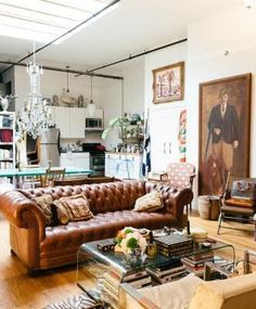 Home Envy! NYC's Coolest Sisters Spill Their Top Decorating Tips - Living_Space_Shelving Chesterfield Living Room, Living Room Sofa, Apartment Living, Le Living, Home And Living, Living Spaces, Home Design, Interior Design, Tufted Leather Sofa