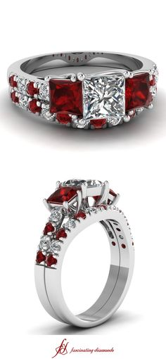 Trellis Accent Set ||  Princess Cut Diamond Wedding Sets With Red Ruby In 14k White Gold