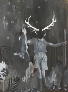 The Prize (Hoxton Shit Horns) 2013.  Bruce Lovelock Oil/Acrylic/Varnish/Pencil on reclaimed canvas