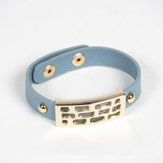 Abstract 18K Gold Plated Leather Snap Bracelet - Light Blue by Andara on Style Mined